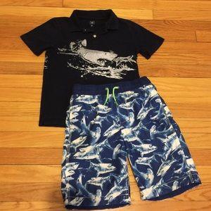 Gap boys Swim Trunks and short sleeve polo shirt 8